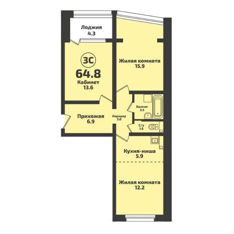 Вариант №5722, 3-комнатная квартира в жилом комплексе