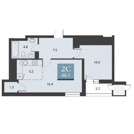 Вариант №5663, 2-комнатная квартира в жилом комплексе