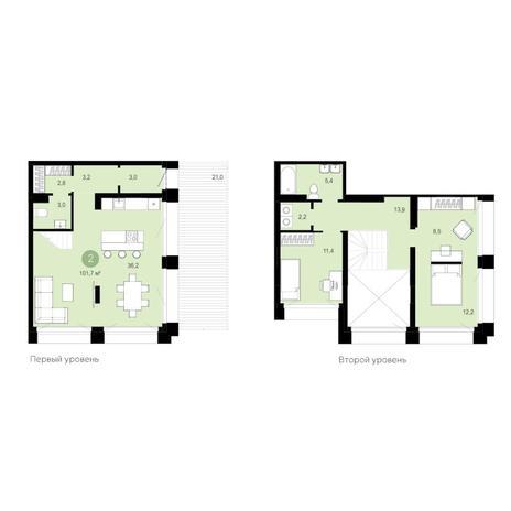 Вариант №6285, 3-комнатная квартира в жилом комплексе