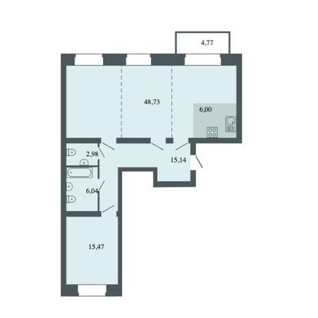 Вариант №6163, 3-комнатная квартира в жилом комплексе