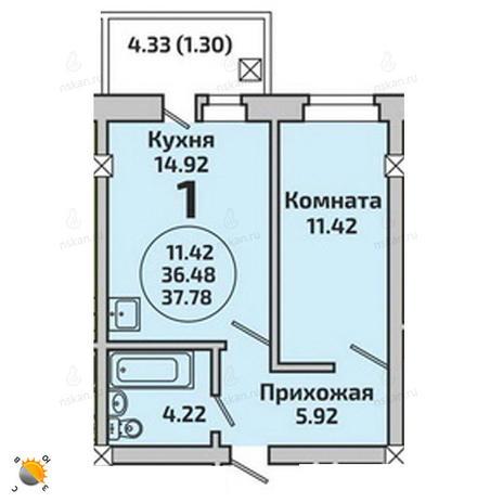 Вариант №1985, 2-комнатная квартира в жилом комплексе Приозерный