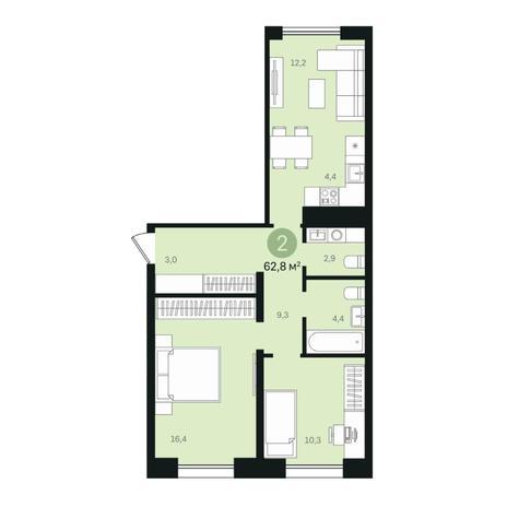 Вариант №6370, 3-комнатная квартира в жилом комплексе
