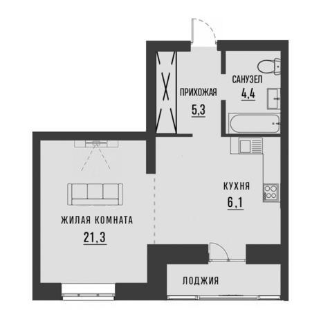 Вариант №4190, 1-комнатная квартира в жилом комплексе