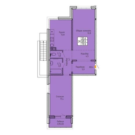 Вариант №5742, 2-комнатная квартира в жилом комплексе Венеция
