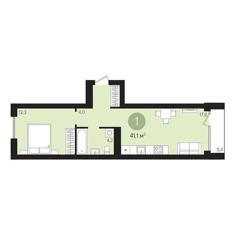 Вариант №3005, 2-комнатная квартира в жилом комплексе