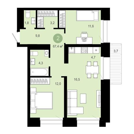 Вариант №4022, 3-комнатная квартира в жилом комплексе