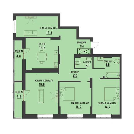 Вариант №4194, 4-комнатная квартира в жилом комплексе