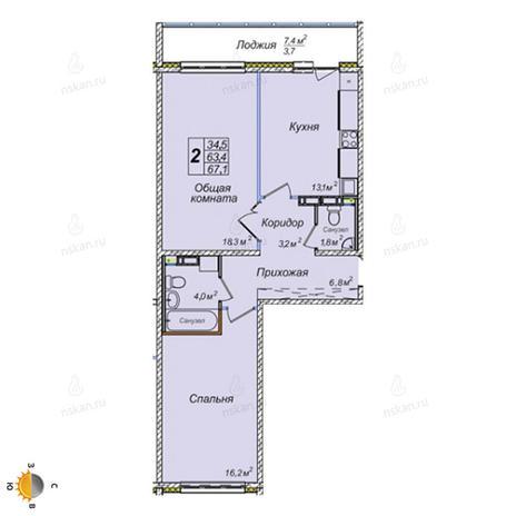 Вариант №2393, 2-комнатная квартира в жилом комплексе Заельцовский