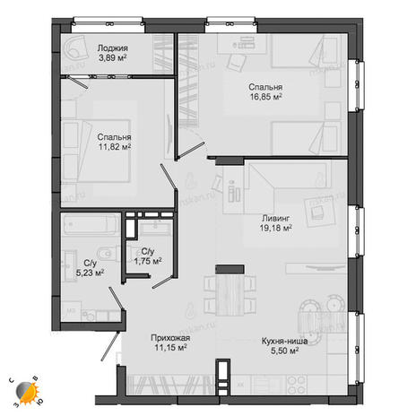 Вариант №2139, 3-комнатная квартира в жилом комплексе
