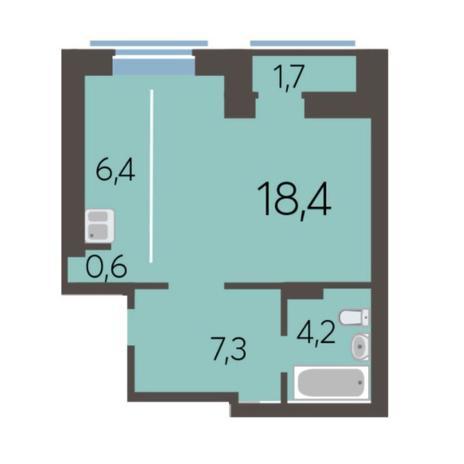 Вариант №5776, 1-комнатная квартира в жилом комплексе