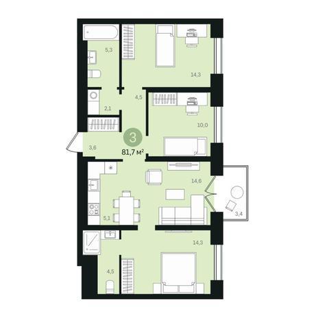 Вариант №6336, 4-комнатная квартира в жилом комплексе