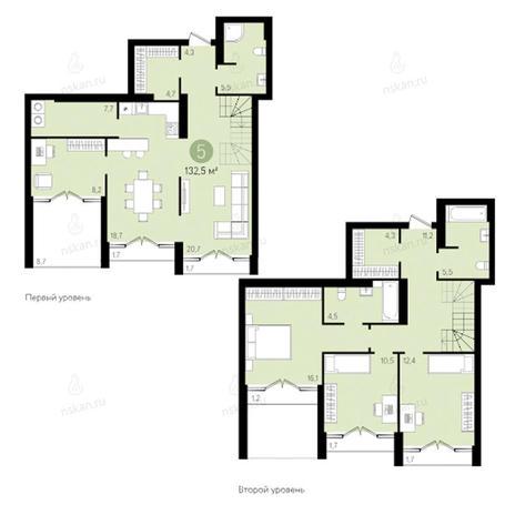 Вариант №2798, 4-комнатная квартира в жилом комплексе Европейский Берег