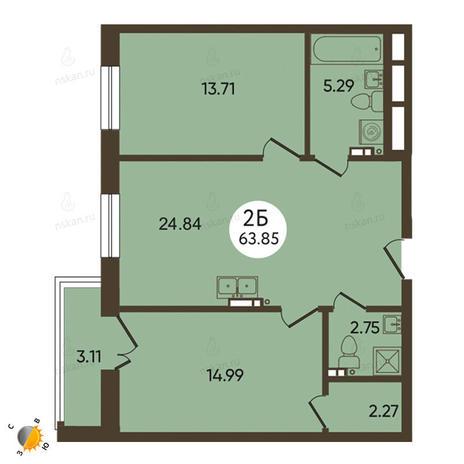 Вариант №2105, 3-комнатная квартира в жилом комплексе