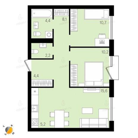 Вариант №2154, 3-комнатная квартира в жилом комплексе