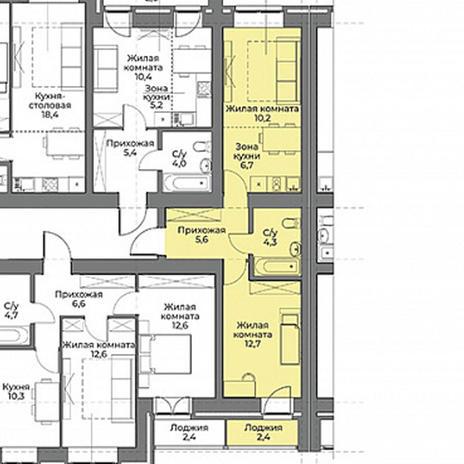 Вариант №3967, 2-комнатная квартира в жилом комплексе Солнечные часы