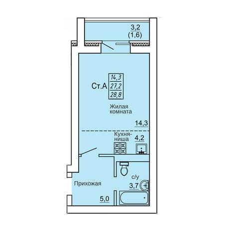 Вариант №4328, 1-комнатная квартира в жилом комплексе