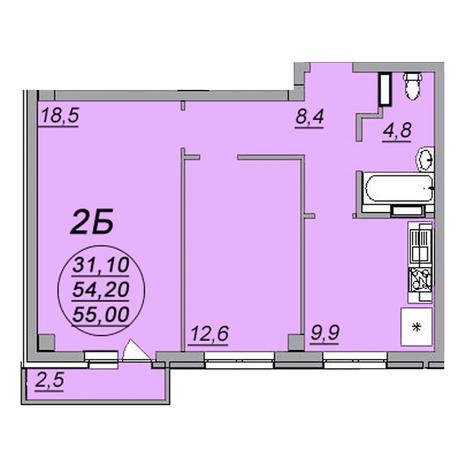 Вариант №3471, 2-комнатная квартира в жилом комплексе Аэропорт