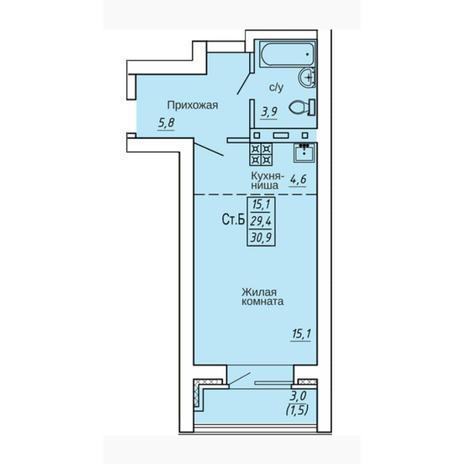 Вариант №4336, 1-комнатная квартира в жилом комплексе