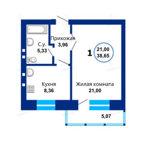Вариант №1664, 1-комнатная квартира в жилом комплексе Революция