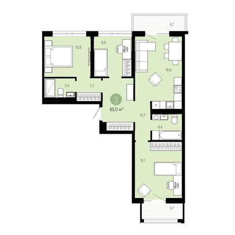 Вариант №4829, 4-комнатная квартира в жилом комплексе Европейский Берег