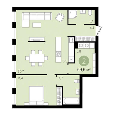 Вариант №3451, 2-комнатная квартира в жилом комплексе Облака