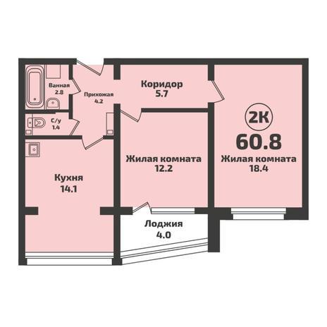Вариант №5715, 2-комнатная квартира в жилом комплексе