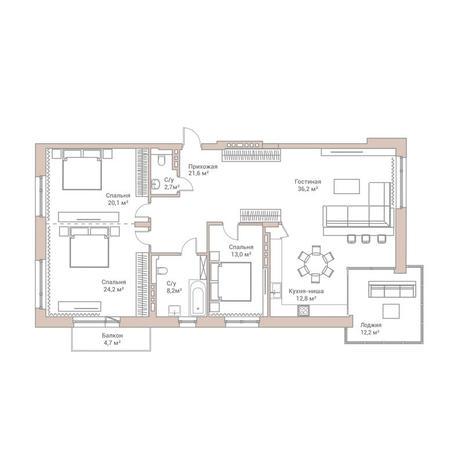 Вариант №3580, 4-комнатная квартира в жилом комплексе Flora & Fauna