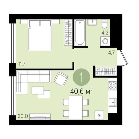 Вариант №3289, 1-комнатная квартира в жилом комплексе Европейский Берег