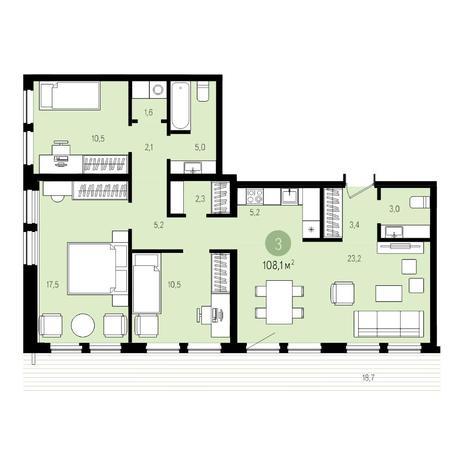 Вариант №5010, 4-комнатная квартира в жилом комплексе Пшеница