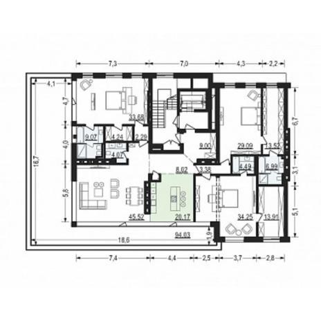 Вариант №4918, 4-комнатная квартира в жилом комплексе Жуковка