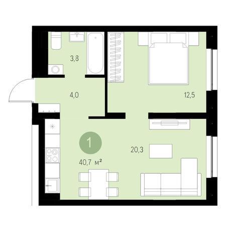 Вариант №4715, 2-комнатная квартира в жилом комплексе Европейский Берег