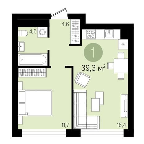 Вариант №3282, 1-комнатная квартира в жилом комплексе На Королева