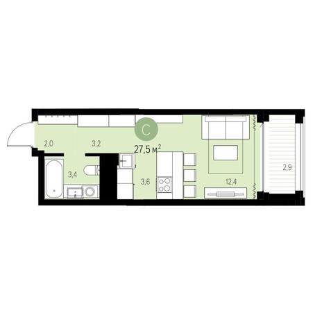 Вариант №5437, 1-комнатная квартира в жилом комплексе