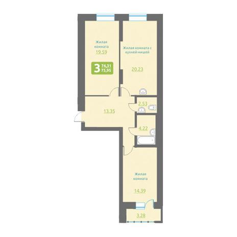 Вариант №3493, 3-комнатная квартира в жилом комплексе