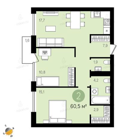 Вариант №2401, 3-комнатная квартира в жилом комплексе Европейский Берег