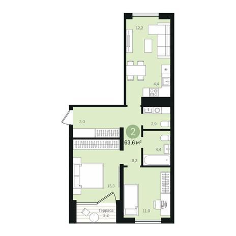Вариант №6372, 3-комнатная квартира в жилом комплексе