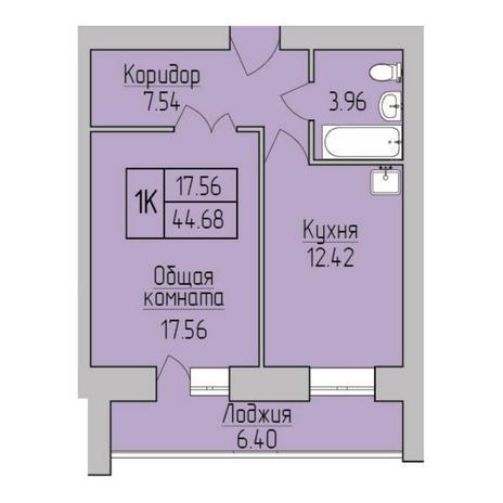 Вариант №5361, 1-комнатная квартира в жилом комплексе