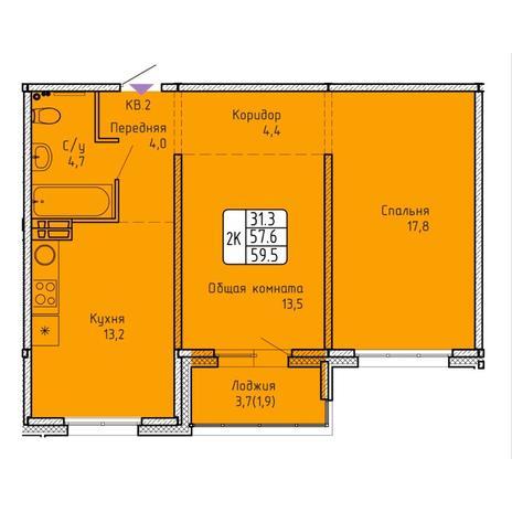 Вариант №5753, 2-комнатная квартира в жилом комплексе Венеция