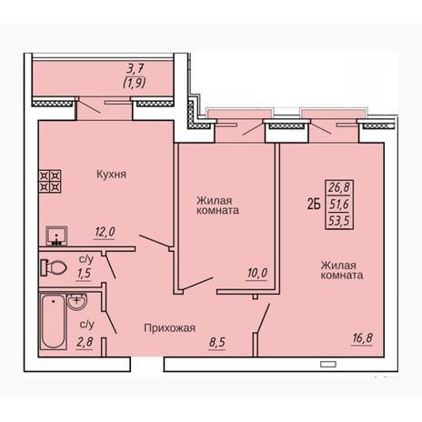 Вариант №4314, 2-комнатная квартира в жилом комплексе Театральный
