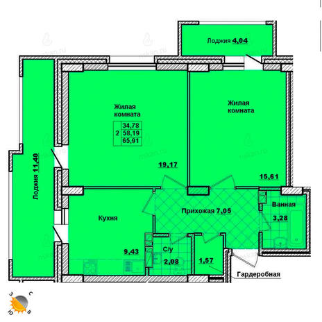 Вариант №2014, 2-комнатная квартира в жилом комплексе