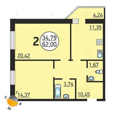 Вариант №1378, 2-комнатная квартира в жилом комплексе Семьи Шамшиных 55