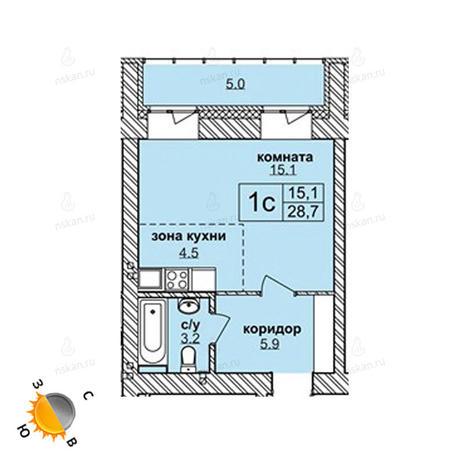 Вариант №1607, 1-комнатная квартира в жилом комплексе Приозерный