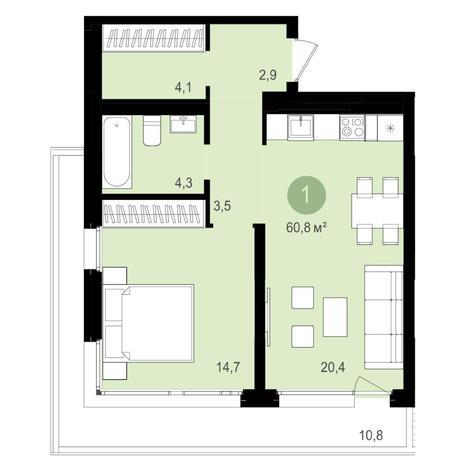 Вариант №4360, 2-комнатная квартира в жилом комплексе Авиатор