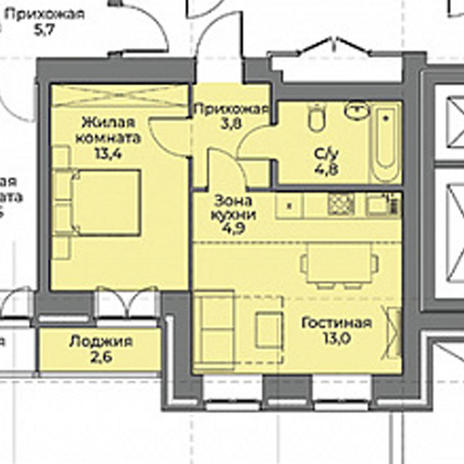 Вариант №3961, 1-комнатная квартира в жилом комплексе Ключевой