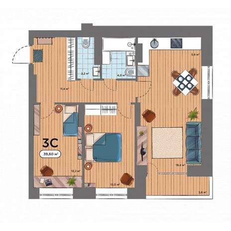 Вариант №6570, 3-комнатная квартира в жилом комплексе