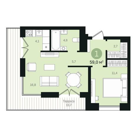 Вариант №6366, 2-комнатная квартира в жилом комплексе