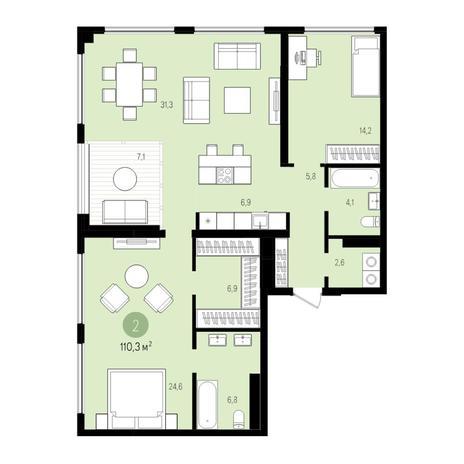 Вариант №5529, 3-комнатная квартира в жилом комплексе