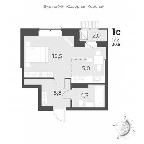 Вариант №6297, 1-комнатная квартира в жилом комплексе