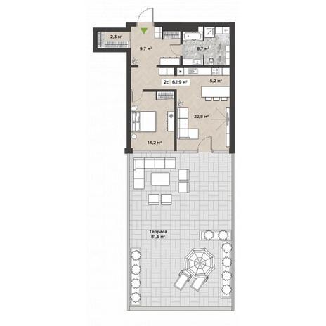 Вариант №5860, 2-комнатная квартира в жилом комплексе