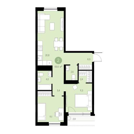 Вариант №4708, 3-комнатная квартира в жилом комплексе